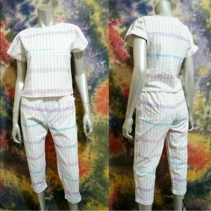Vintage 80s Set Crop Pants Top Small Striped